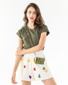 When you'd rather wear a fruit salad than eat a fruit salad. These shorts by Pepa Loves feature an assortment of embroidered fruit, an elastic waistband, and side pockets. The details- 70% Rayon, 30% Acrylic Elastic waistband, side slash pockets Hand was cold