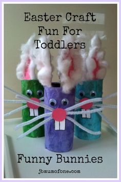 Easter Craft: Funny Bunnies super easy toilet roll craft.