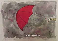 MW Art Marion Waschk Illustration der fliegende Regenschirm, Herbst, roter Regenschirm, Regenwetter, selbst hergestellte Farben und Tinten, Sketches, Red Umbrella, stormy Weather,  Autum,
