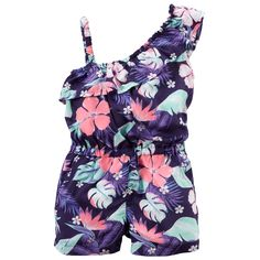 Crafted with a fun print and one-shoulder ruffle design, this stretch jersey romper packs lots of style in one easy piece.
