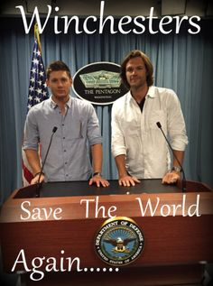 "Winchesters Save World Again ^_^ ;) <3 <3 #Dean #Sam #Winchesters || Jensen Ackles || Jared Padalecki at ""Department of Defense of USA"" in Washington, DC"