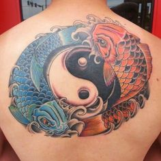A cool oriental tattoo design of a yin yang symbol surrounded by two Koi fish. Pisces Tattoo Designs, Koi Tattoo Design, Pisces Tattoos, Tattoo Designs And Meanings, Yin Yang Tattoo Meaning, Yin Yang Tattoos, Tattoos With Meaning, Tatoo Art, Color Tattoo