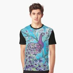 'Peacock On The Tree' Graphic T-Shirt by Artemix Tree Graphic, Apparel Design, Vivid Colors, Female Models, Pink Flowers, Peacock, How To Make, How To Wear, Cotton