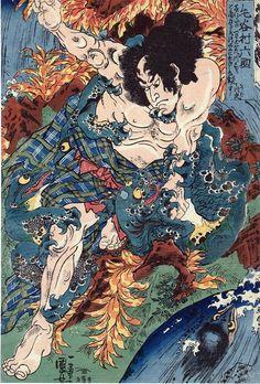 歌川国芳:毛谷村六助、川虎と角力を取つるにこれをみな殺しにす Rokusuke to the monsters of the river to massacre