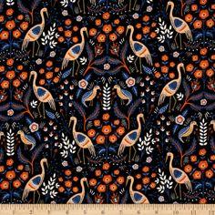 Cotton + Steel Rifle Paper Co. Les Fleurs Tapestry Black