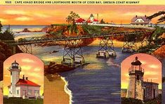 Oregon Coast- Cape Arago Bridge and Lighthouse, mouth of Coos Bay, Postcard Coos Bay Oregon, Oregon Coast, Lighthouses In Oregon, Travel Posters, Taj Mahal, Cape, Bridge, History, Beach