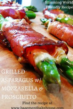 Healthy Snacks Grilled Asparagus Wrapped in Mozzarella and Prosciutto - Slimming World Friendly Recipe - Slimming World - Healthy Recipe - Eat Clean - Delicious - Easy - Starter - Snack - A simple, effective, low syn starter, snack or light meal! Tapas Recipes, Healthy Recipes, Appetizer Recipes, Italian Recipes, Healthy Snacks, Cooking Recipes, Dinner Recipes, Appetizers On The Grill, Eat Clean Recipes