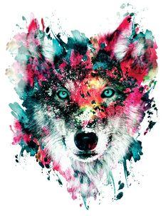 Wolf Art Print by RIZA PEKER #wolf #wild #animal #digital #home #watercolor #art #society6