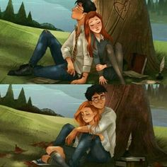 Top: Lily and James Bottom: Harry and Ginny Harry Potter Puns, Harry Potter Draco Malfoy, Harry Potter Drawings, Harry Potter Ships, Harry Potter Fan Art, Harry Potter Characters, Harry Potter World, Gina Weasley, Drarry Fanart