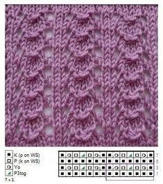 bf 82 22 s-media-… - lochmuster sitricken Lace Knitting Patterns, Knitting Stiches, Knitting Charts, Lace Patterns, Knitting Socks, Knitting Designs, Knitting Needles, Baby Knitting, Stitch Patterns