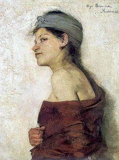 Polish Artist Olga Boznańska, Portrait of a woman, 1888  Portret kobiety (Cyganka) 1888. Olej na płótnie. 65 x 53 cm. Muzeum Narodowe w Krakowie.