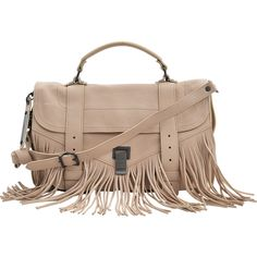 Proenza Schouler PS1 Fringe Medium-Lux Leather ($1,345) ❤ liked on Polyvore featuring bags, handbags, shoulder bags, beige, brown handbags, beige shoulder bag, leather fringe purse, brown purse and brown leather handbags