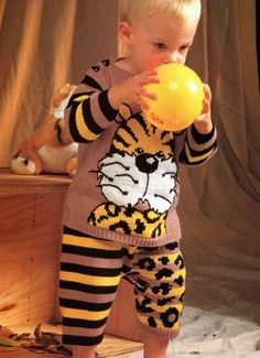Knitting Pattern for Baby Boys Adorable Tiger Jumper and Trouser Set!! 70