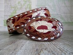 Vintage Tony Lama tooled leather Belt and Belt by TheCuriousMoose