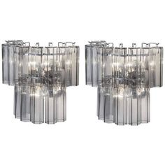 Pair Of Hexagonal Murano Glass Wall Lights ($3,790) ❤ liked on Polyvore featuring home, lighting, wall lights, clear, lighting fixtures, murano glass lamp, murano glass lighting, hexagon lamp and murano glass sconces