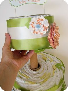 Much more practical version of the diaper cake - flat diapers are easier to reuse!
