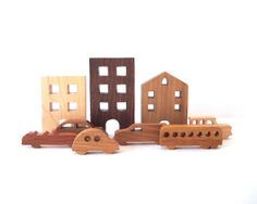 City Toy Set Waldorf Wooden Miniature 9 Pieces Buildings Cars