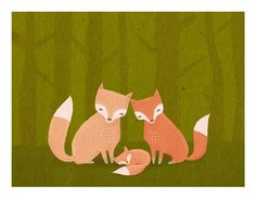 nursery art print fox family woodland forest friends by lulufroot, $30.00