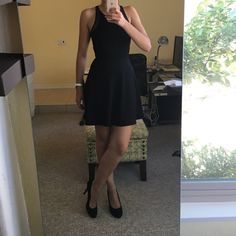 🎉2X HP 6/11 & 7/17🎉 BLACK DRESS H&M Black H&M Skater Dress with see through details (see pictures) size XS (stretchy so can fit a small) This outfit is great to go out or to go to work. I used to wear this for my job as a hostess with a black cardigan. Super comfortable! Taking reasonable offers!!! H&M Dresses Midi