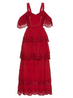 Tiered broderie-anglaise dress | Self-portrait | MATCHESFASHION.COM US