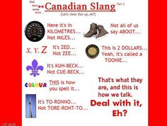Canada Oh Canada ~ Canadian Humor: Canadian Slang. Canadian Facts, Canadian Memes, Canadian Things, I Am Canadian, Canadian Girls, Canadian Humour, Canadian English, Toronto Canada, Canada 150
