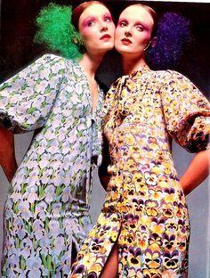 Susan Moncur and Grace Coddington. Photo by Barry Lategan. Dresses by Dior. UK Vogue March 1971.