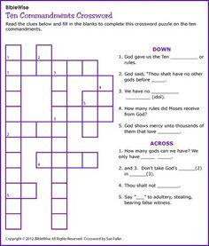 Ten Commandments Crossword - Kids Korner - BibleWise