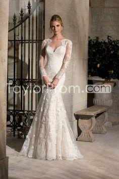 2015 Bateau Full Sleeves Wedding Dress Mermaid/Trumpet Court Trian With Applique on TaylorProm.com