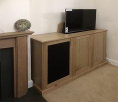 tv cabinet with lift and swivel storage for av equipment with infra red friendly speaker