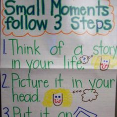 "kindergarten/1st grade ""small moments"" writers workshop anchor chart"