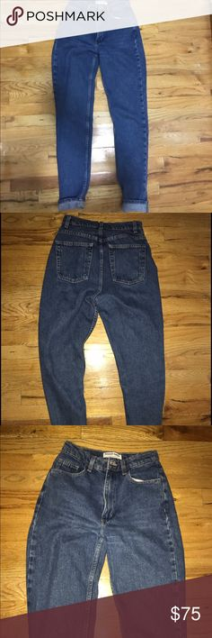 American Apparel Medium/Dark wash jeans These jeans are very sturdy and well made! You can wear them almost anywhere with anything, and they have a very vintage feel. These fit like rugged Levi's. High waisted and great wash dark color. Not a lot of stretch. Zipper and button closure. American Apparel Jeans Straight Leg