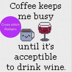 Coffee/Wine Cross Stitch Pattern by 8bitstitching on Etsy