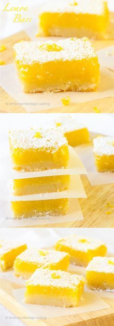 Lemon Bars These easy lemon bars have a thick shortbread crust and a sweet tart lemon filling! They really are a burst of sunshine!These easy lemon bars have a thick shortbread crust and a sweet tart lemon filling! They really are a burst of sunshine! Lemon Desserts, Lemon Recipes, Just Desserts, Baking Recipes, Cookie Recipes, Delicious Desserts, Dessert Recipes, Yummy Food, Bar Recipes