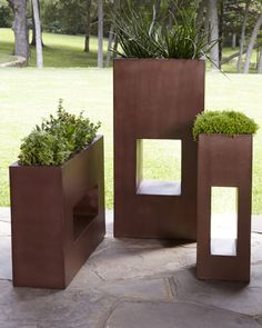 """Copper"" Planters - Modern copper-finished planters feature openings in bases for an artistic play of light and shadow. Great for the contemporary garden!"