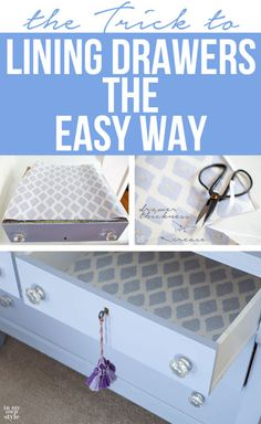 Home Organization. How to line a drawer. Learn this much faster way to line a drawer with decorative paper. No measuring tape needed! Furniture Projects, Furniture Makeover, Home Projects, Diy Furniture, Furniture Buyers, Furniture Stores, Furniture Design, Upcycled Crafts, Repurposed