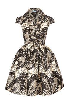 Black & Cream Ankara Shirt Dress