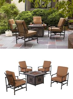 Relax on your patio next to the cozy warmth of a fire. We have a fire pit set for exactly that. This set includes a tile-top gas fire pit and four deep seating rockers in rust resistant cast aluminum for maximum durability and comfort.