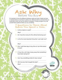 Ask why before you buy....saving money tips