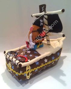 d496922e18c Pirate Ship Diaper Cake Boat Diaper Cake