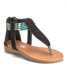 4879b25ae7f136 Loving this Shoes of Soul Black Beaded Sandal on  zulily!  zulilyfinds  Beaded Sandals
