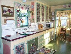 decoupage kitchen cabinet | House-ish things | Pinterest ...