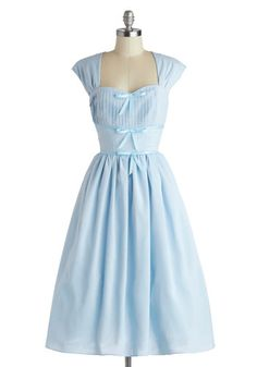 Friend Setter Dress - Long, Woven, Blue, Solid, Bows, Party, A-line, Cap Sleeves, Better, Sweetheart, Pleats, Vintage Inspired, 50s, 60s, Fairytale, Pastel, Fit & Flare