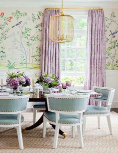 Ashley Whittaker Interior Design, Chinoiserie Wallpaper, Lavender, Turquoise, Dining Room