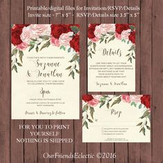 red roses wedding invitation suite watercolour wedding invitation printable wedding invitation set digital wedding invitation suite - Digital Wedding Invitations