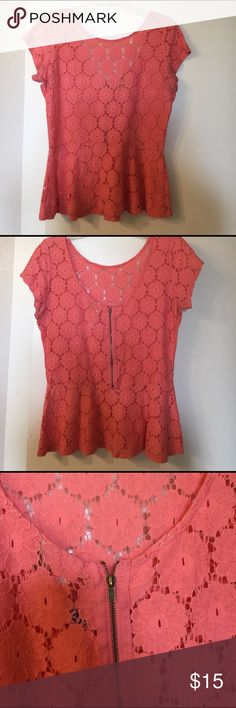 Coral Peplum Top Cute spring coral peplum top🌷 Perfect for spring! Low back with zipper. Gently used. Eyeshadow Tops Blouses