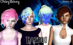 Chazy Bazzy Retextures Download HA2D 01 hairstyle retextured by Chazy Bazzy, Short Haircut, Sims 3 hair Females YA / Teens / Elders