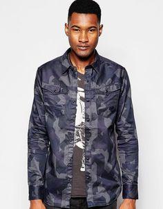 G-Star Men s Arc 3D Camo Shirt in Navy Size L Chest 40-42  rrp £90
