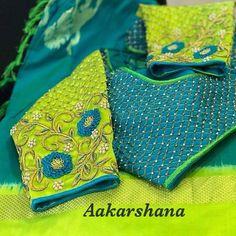 No photo description available. Wedding Saree Blouse Designs, Silk Saree Blouse Designs, Fancy Blouse Designs, Blouse Neck Designs, Dress Designs, Blouse Styles, Hand Work Blouse Design, Stylish Blouse Design, Maggam Work Designs