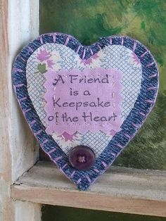 Fabric Heart Brooch/Pin Handmade Purple Quilt by SheilasBlessings