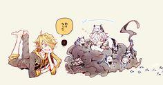Lion King x Baby Tiger= Much cute because Shishiou and Gokotai~ Touken Ranbu Characters, Anime Guys, Lion, Character Design, Manga, Random, Artwork, Cute, Characters